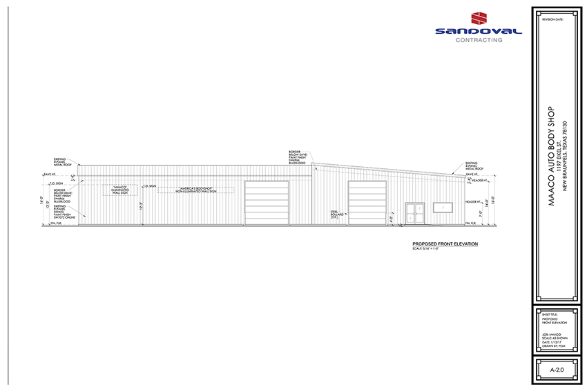 Maco New Braunfels_A-2.0_Proposed Front Elevation_LR